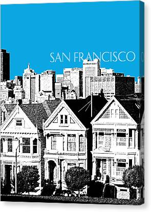 San Francisco Skyline Alamo Square - Ice Blue Canvas Print