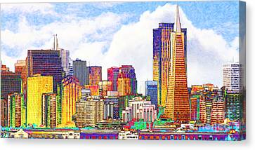 San Francisco Skyline Along The Embarcadero 5d29399 Photoart Long Canvas Print by Wingsdomain Art and Photography