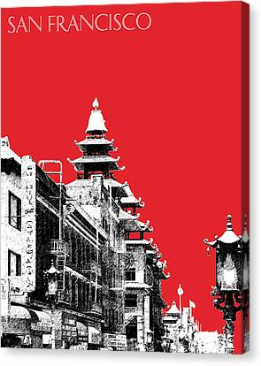 San Francisco Skyline Chinatown - Red Canvas Print by DB Artist