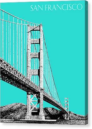 San Francisco Skyline Golden Gate Bridge 2 - Aqua Canvas Print by DB Artist