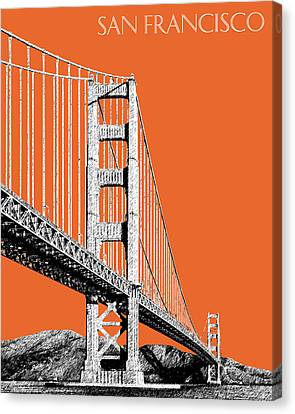 San Francisco Skyline Golden Gate Bridge 2 - Coral Canvas Print