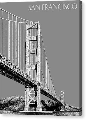 San Francisco Skyline Golden Gate Bridge 2 - Pewter Canvas Print by DB Artist