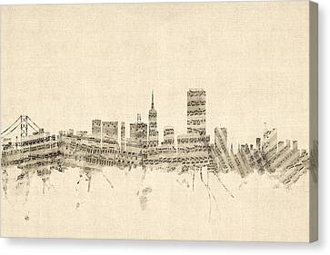San Francisco Skyline Sheet Music Cityscape Canvas Print by Michael Tompsett