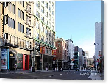 San Francisco Stockton Street At Union Square - 5d20564 Canvas Print by Wingsdomain Art and Photography