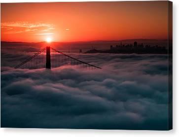 Canvas Print featuring the photograph San Francisco Sunrise by Brian Bonham