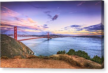 San Francisco Sunset And The Golden Gate Bridge From Marin Headlands 2 Canvas Print by Jennifer Rondinelli Reilly - Fine Art Photography