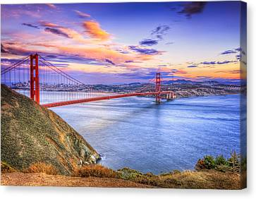 San Francisco Sunset And The Golden Gate Bridge From Marin Headlands Canvas Print by Jennifer Rondinelli Reilly - Fine Art Photography