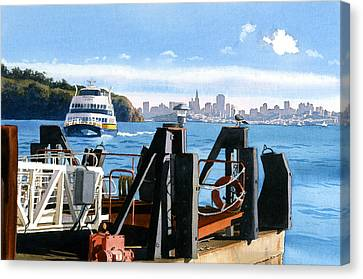 San Francisco Tiburon Ferry Canvas Print by Mary Helmreich