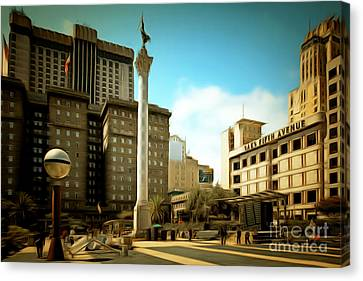 Niketown Canvas Print - San Francisco Union Square 5d17933brun by Wingsdomain Art and Photography