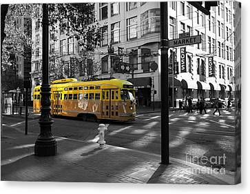 Canvas Print featuring the photograph San Francisco Vintage Streetcar On Market Street - 5d19798 - Black And White And Yellow by Wingsdomain Art and Photography