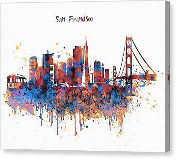 San Francisco Watercolor Skyline Canvas Print by Marian Voicu