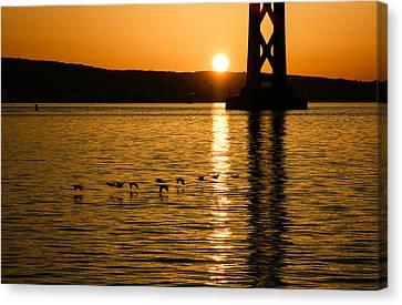 Canvas Print featuring the photograph San Francisco Bay Bridge Sunrise by Georgia Mizuleva