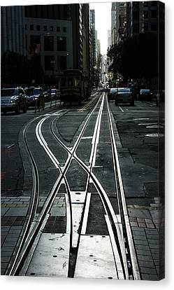 Canvas Print featuring the photograph San Francisco Silver Cable Car Tracks by Georgia Mizuleva