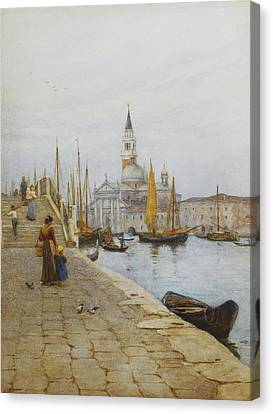 Rowboat Canvas Print - San Giorgio Maggiore From The Zattere by Helen Allingham