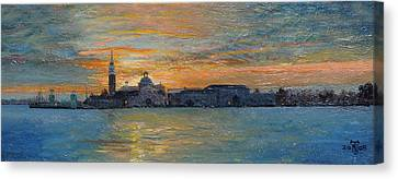 San Giorgio, Venice Lagoon, 2008 Oil On Board Canvas Print by Trevor Neal