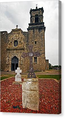 Canvas Print featuring the photograph San Jose Mission Crosses by Andy Crawford