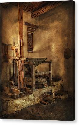 Canvas Print featuring the photograph San Jose Mission Mill by Priscilla Burgers