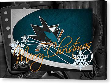 San Jose Sharks Christmas Canvas Print by Joe Hamilton