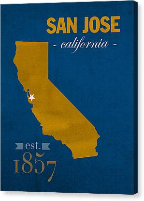 San Jose State University California Spartans College Town State Map Poster Series No 094 Canvas Print by Design Turnpike