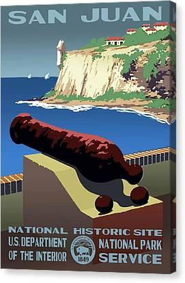 Castillo San Felipe Canvas Print - San Juan National Historic Site Vintage Poster by Eric Glaser