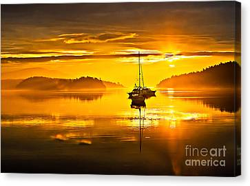 Haybale Canvas Print - San Juan Sunrise by Robert Bales