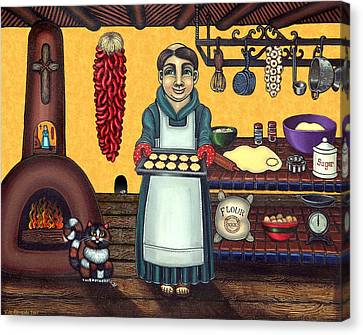 Celebrated Canvas Print - San Pascual Making Biscochitos by Victoria De Almeida