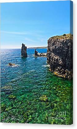San Pietro Island - Le Colonne Canvas Print by Antonio Scarpi