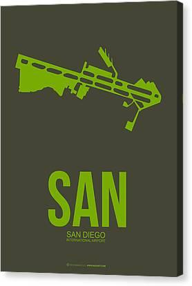 San San Diego Airport Poster 12 Canvas Print by Naxart Studio