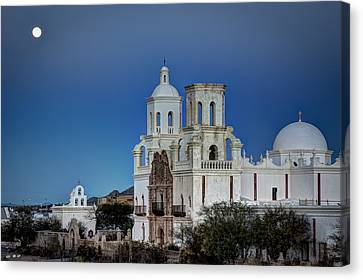 San Xavier Del Bac At Moonset 1 Canvas Print