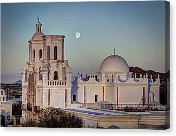 San Xavier Del Bac At Moonset 2 Canvas Print