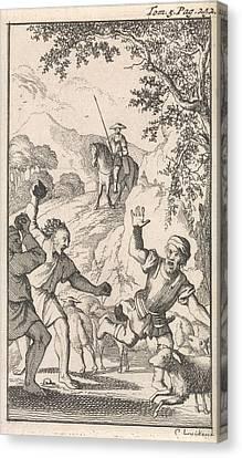 Sancho Is Stoned By Shepherds, Print Maker Caspar Luyken Canvas Print