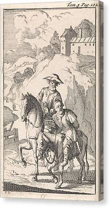 Sancho Is Tied Up By His Master On A Donkey Canvas Print