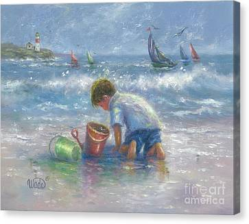 Beach Pails Canvas Print - Sand And Sailboats by Vickie Wade