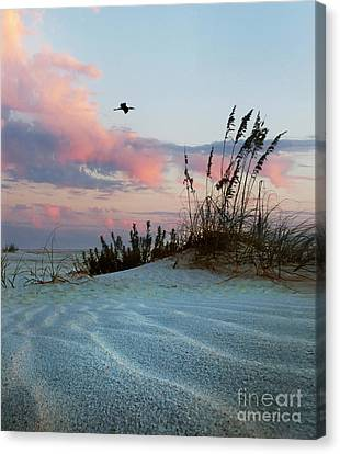 Sand And Sunset Canvas Print by Deborah Smith