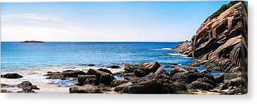 Canvas Print featuring the photograph Sand Beach Rocky Shore   by Lars Lentz