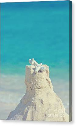 Sand Castle With Coral Against Calm Turquoise Sea 2 Canvas Print by Beverly Claire Kaiya