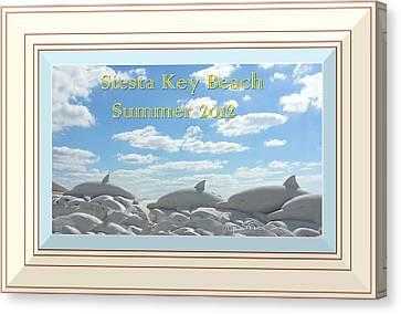 Sand Dolphins - Digitally Framed Canvas Print by Susan Molnar