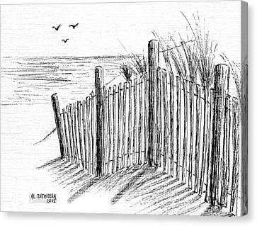 Sand Fences Canvas Print - Sand Dune by Al Intindola