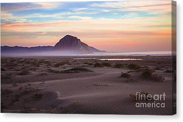 Sand Dunes At Sunset At Morro Bay Beach Shoreline  Canvas Print by Jerry Cowart