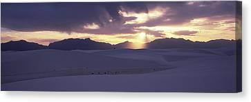 Sand Dunes In A Desert At Dusk, White Canvas Print