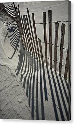 Sand Fence During Winter On The Beach Canvas Print by Randall Nyhof