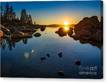 Sand Harbor Sunset Canvas Print by Jamie Pham