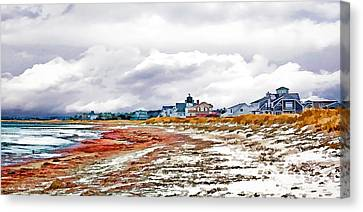 Canvas Print featuring the photograph Sand Snow And Seaweed Photo Art by Constantine Gregory