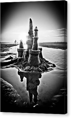 Sandcastle In Black And White Canvas Print