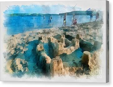 Sandcastle On The Beach Canvas Print by Amy Cicconi