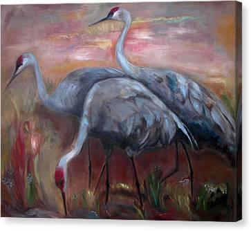 Glazed Canvas Print - Sandhill Cranes by Susan Hanlon