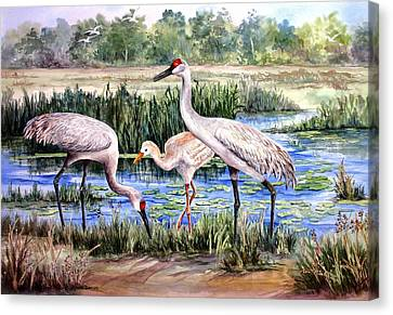 Canvas Print featuring the painting Sandhills By The Pond by Roxanne Tobaison