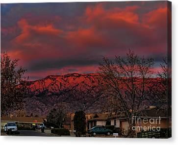 Sandia Moutains At Sunset Canvas Print