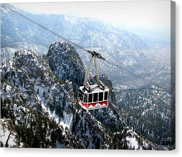 Sandia Tram Above The Snowy Peaks Canvas Print