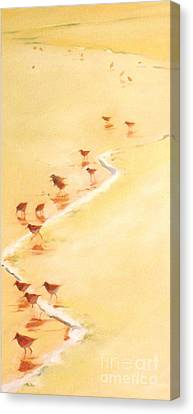 Sandpiper Promenage Canvas Print by Mary Hubley